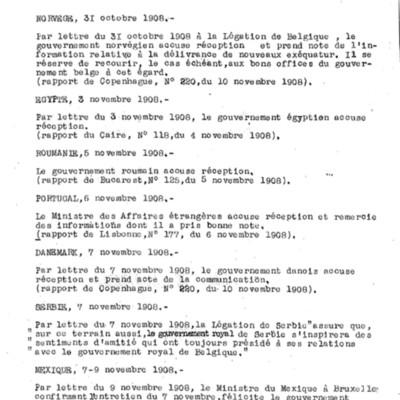 Annexion du Congo par la Belgique. Ordre chronologique des reconnaissances