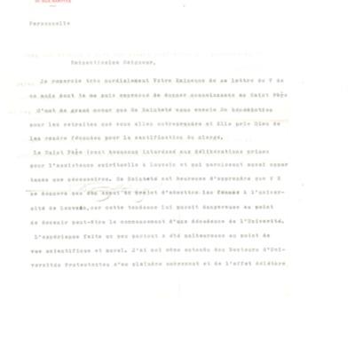 Lettre au cardinal Désiré Mercier