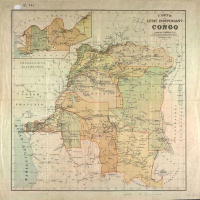 Carte de l'Etat Indépendant du Congo : d'après les renseignements fournis par les explorateurs et par la Mission scientifique belge